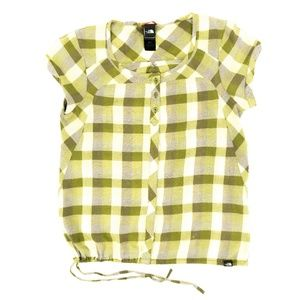 The North Face Button Shirt Plaid Checkered Green